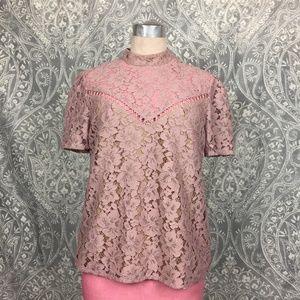 WAYF Pink Lace Greyson Top